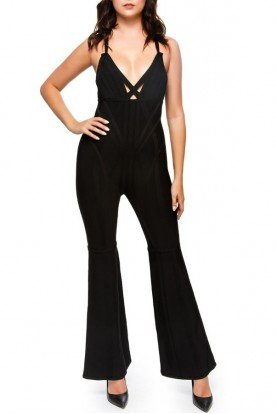 Halter Black Knit Bandage Jumpsuit