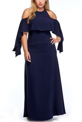 Navy Blue Cold Shoulder Long Sleeve Flare Dress