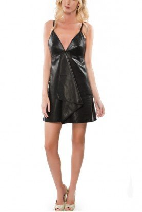 Edgy Black Leather Rei Mini Dress