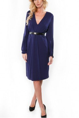 Cotton Purple Belted Dress