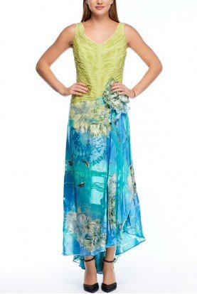 Ladrón de Guevara Lime Green and Aqua Floral Embellished Gown