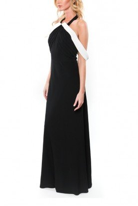 Mikael Aghal Black Cold Shoulder Halter Top Dress