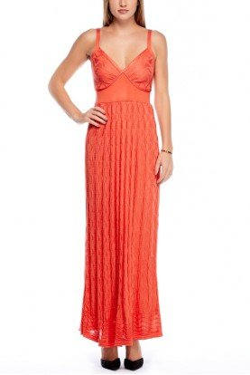 Long Coral Orange Maxi Knitted Dress