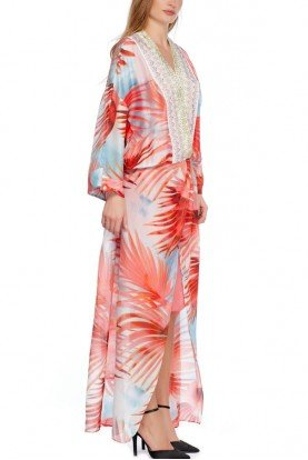 Long Crepe Tropical Patterned Kaftan Dress