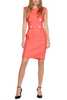 Valentino Vintage Coral Linen Garden Style Buttoned Dress