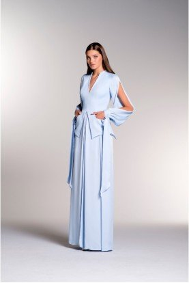 Light Blue Viscose Satin Layered Gown