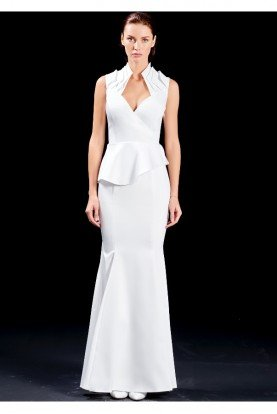 John Paul Ataker White Structured Cut Out Panel Fishtail Dress