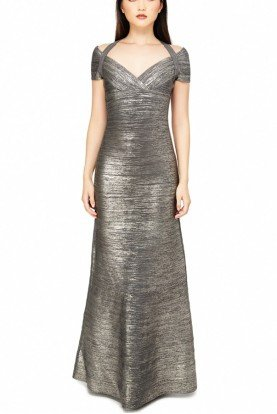 Woodgrain Foil Metallic Bandage Knit Gown