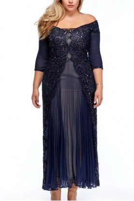 Liancarlo Navy Blue Floral Embroidered Chiffon Evening  Gown