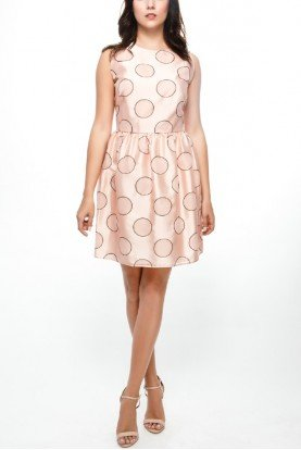 Blush Pink Retro Polka Dot Printed Dress
