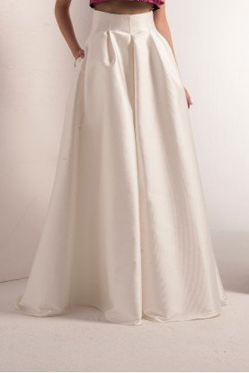 White Mikado Pleated Skirt