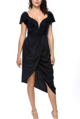 Black Cap Sleeve Asymmetrical French Dress