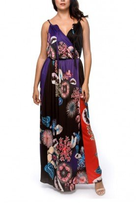 Floral Gathered Skirt Maxi Dress