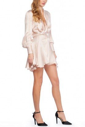 Blush Pink Silk Wrap Robe Dress