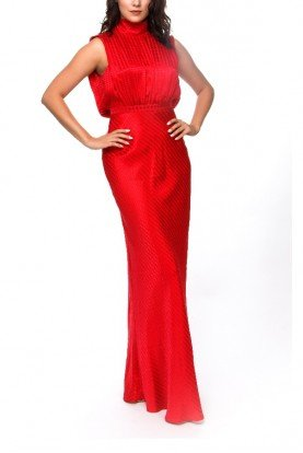 Saloni Red Geometric Halter Empire Gown