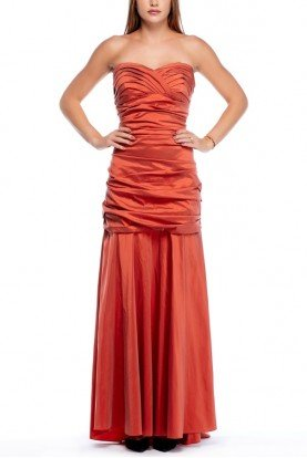 Orange Ruched Mermaid Gown