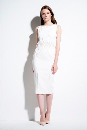 White Sleeveless Lined Viscose Dress