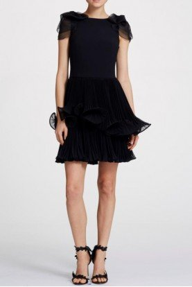 Marchesa Short Sleeve Crepe Organza Black Cocktail Dress