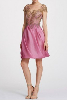 Marchesa Azalea Pink Cap Sleeve Organza Cocktail Dress