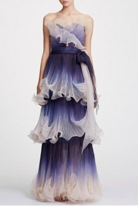 Strapless Pleated Ombre Organza Gown in Indigo