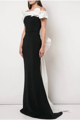 Marchesa Off Shoulder Crepe Column Gown