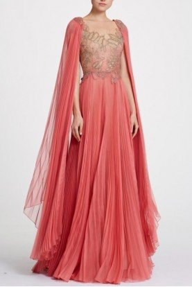 Organza and Illusion Coral Tulle Gown with Cape
