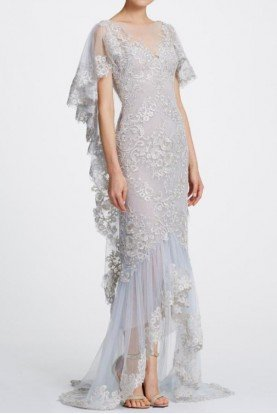 Metallic Platinum Corded Lace Gown