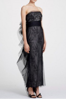 Chantilly Black Lace Strapless Column Gown