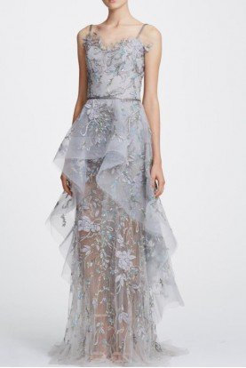 Marchesa Silver Gray Sleeveless Tulle Peplum Gown