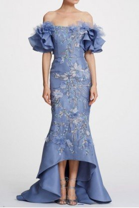 Marchesa Periwinkle Organza Off Shoulder High Low Gown