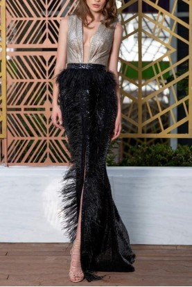 Feather and Sequin Sleeveless Gown