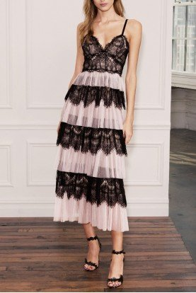 Blush Pink and Black Tulle Lace Midi Dress