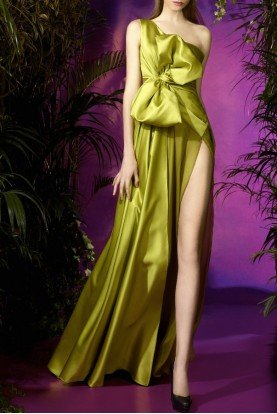 Lime One Shoulder Satin and Chiffon Evening Gown