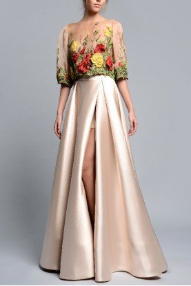 Gemy Maalouf 2 Piece Floral Evening Gown