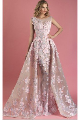 MNM Couture Pink Floral Cap Sleeve Evening Gown