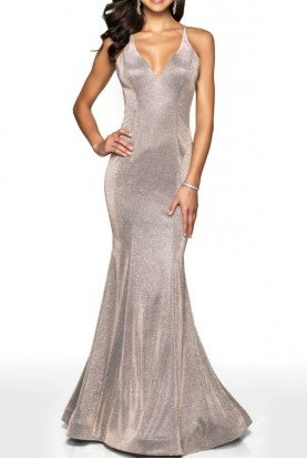 Prom Fitted Shimmer Gown With Open Back 11726