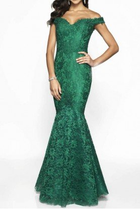 Emerald Green Off Shoulder Mermaid Gown Dress 425