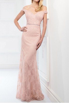 Lace Off Shoulder Belted Gown English Rose 218917