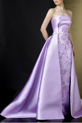 Ziad Germanos Mauve Strapless Embroidered Mikado Evening Gown