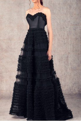 Ziad Germanos Black Strapless Mikado and Tulle Evening Gown