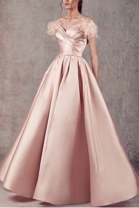 Ziad Germanos Blush Off Shoulder Mikado and Tulle Evening Gown