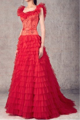 Ziad Germanos Red Sleeveless  A Line Tiered Tulle Evening Gown