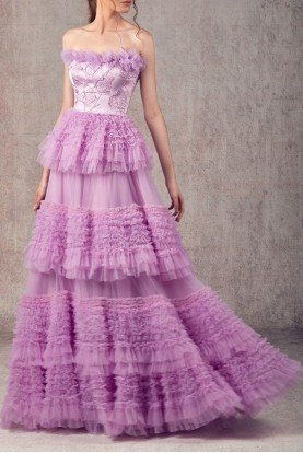 Ziad Germanos Lilac Strapless Mikado and Tulle Evening Gown