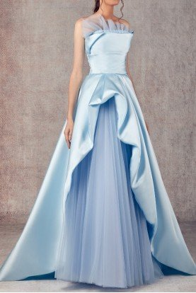 Ziad Germanos Light Blue Strapless Mikado and Tulle Evening Gown