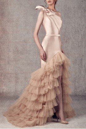 Ziad Germanos Champagne Nude One Shoulder Tiered Evening Gown