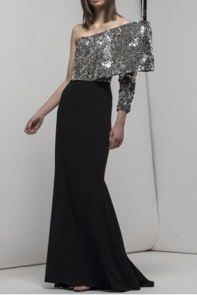 Black Silver Embellished Gaston Gown