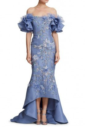 Marchesa Periwinkle Blue Organza Off Shoulder High Low Gown