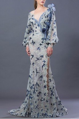 Blue Blouson Sleeve Beaded Evening Gown