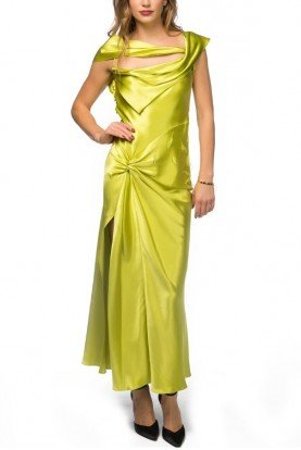 Green Feather Embellished Gown