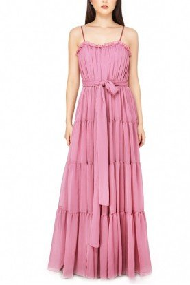 Pink Tiered Chiffon Ruffled Gown
